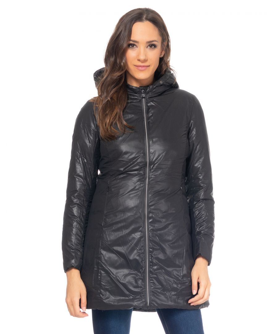 Image for Long down jacket with  line stitching on the lining, removable hood with removable faux-fur and waterproof zipper