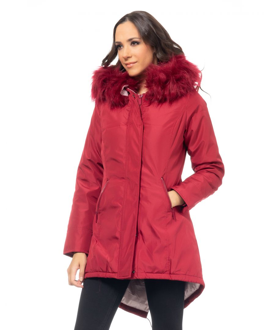 Image for Long padded parka, removable hood with removable faux-fur, tilted pockets and pink lining