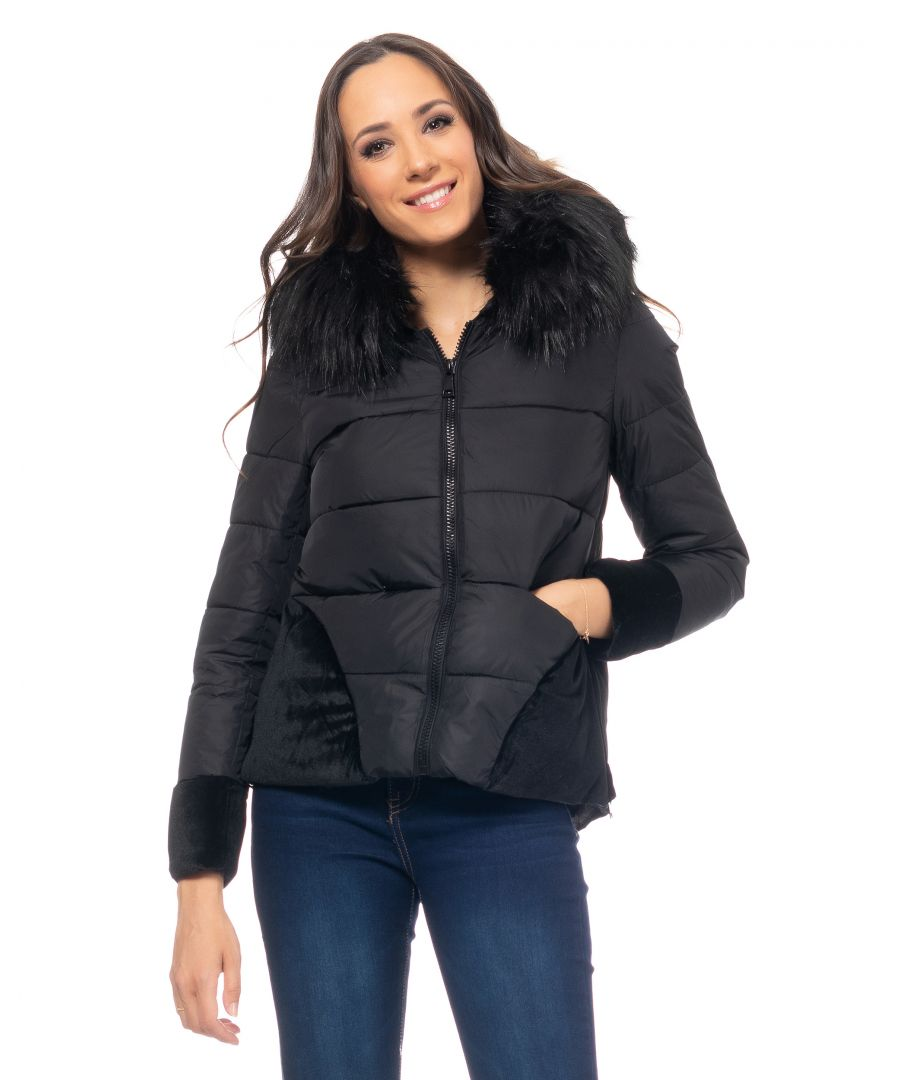 Image for Short down jacket with velvet yokes with removable hood and  removable faux-fur, zipper and  invisible pockets