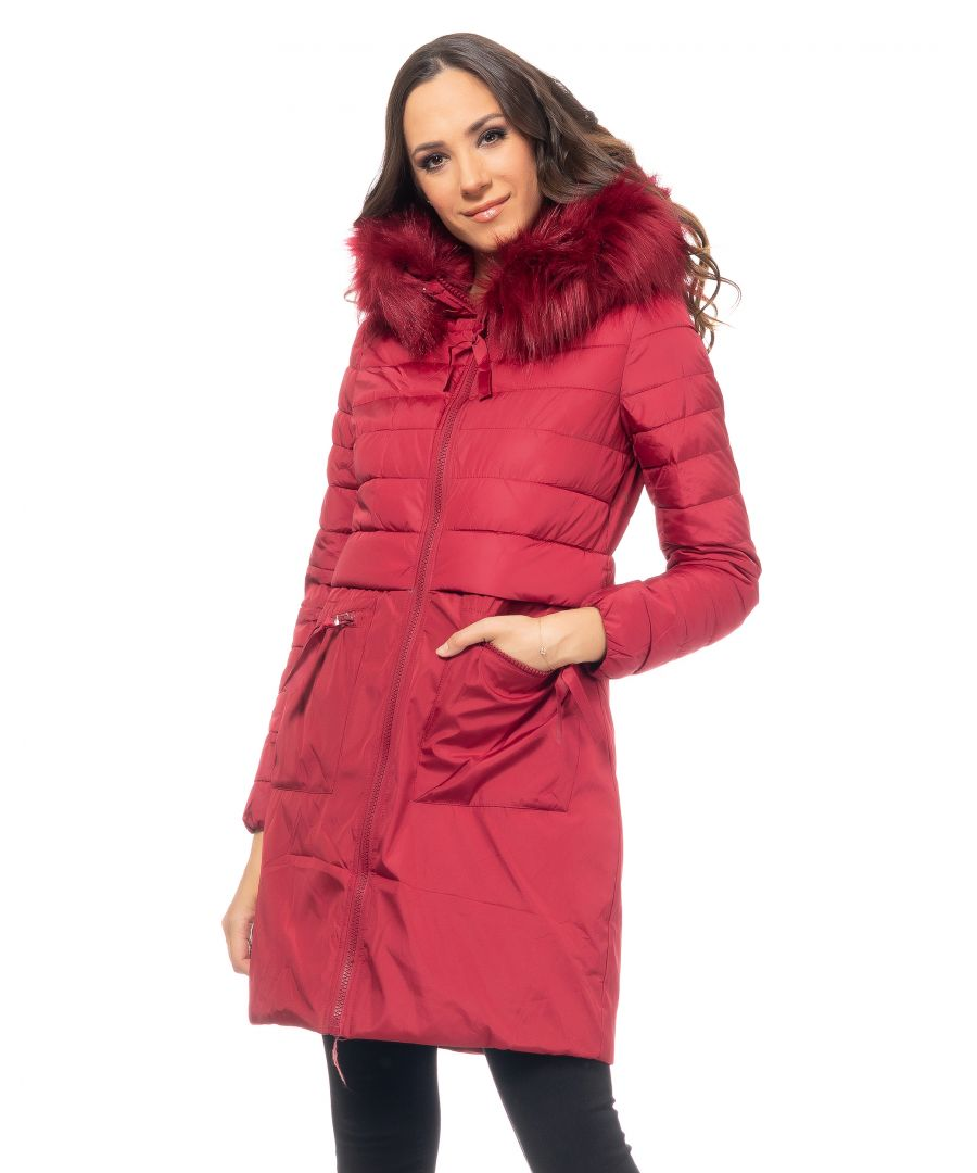 Image for Long padded parka , removable hood with removable, faux-fur,  zipper,  horizontal big pockets  and  half-stitched faux-fur / V stitching / asymetric length