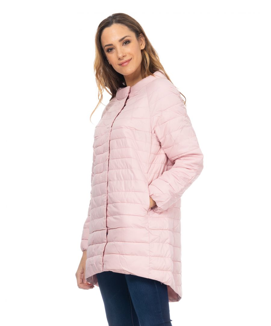 Image for Long Down Jacket With Round Neck With Longer Back