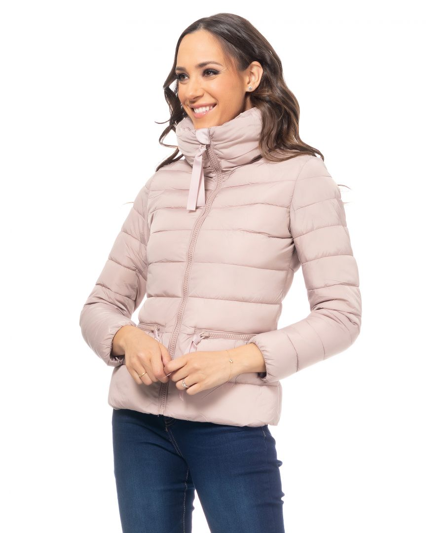 Image for Short Down Jacket With Zipper Horizontal Pockets And High Collar