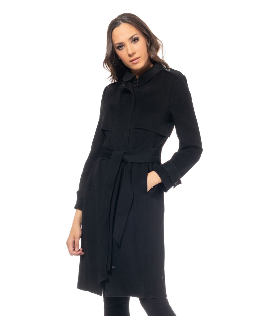 Image for Long woolen coat with flap on the upper part , zipper and button closure , belt on the waist  and shirt collar
