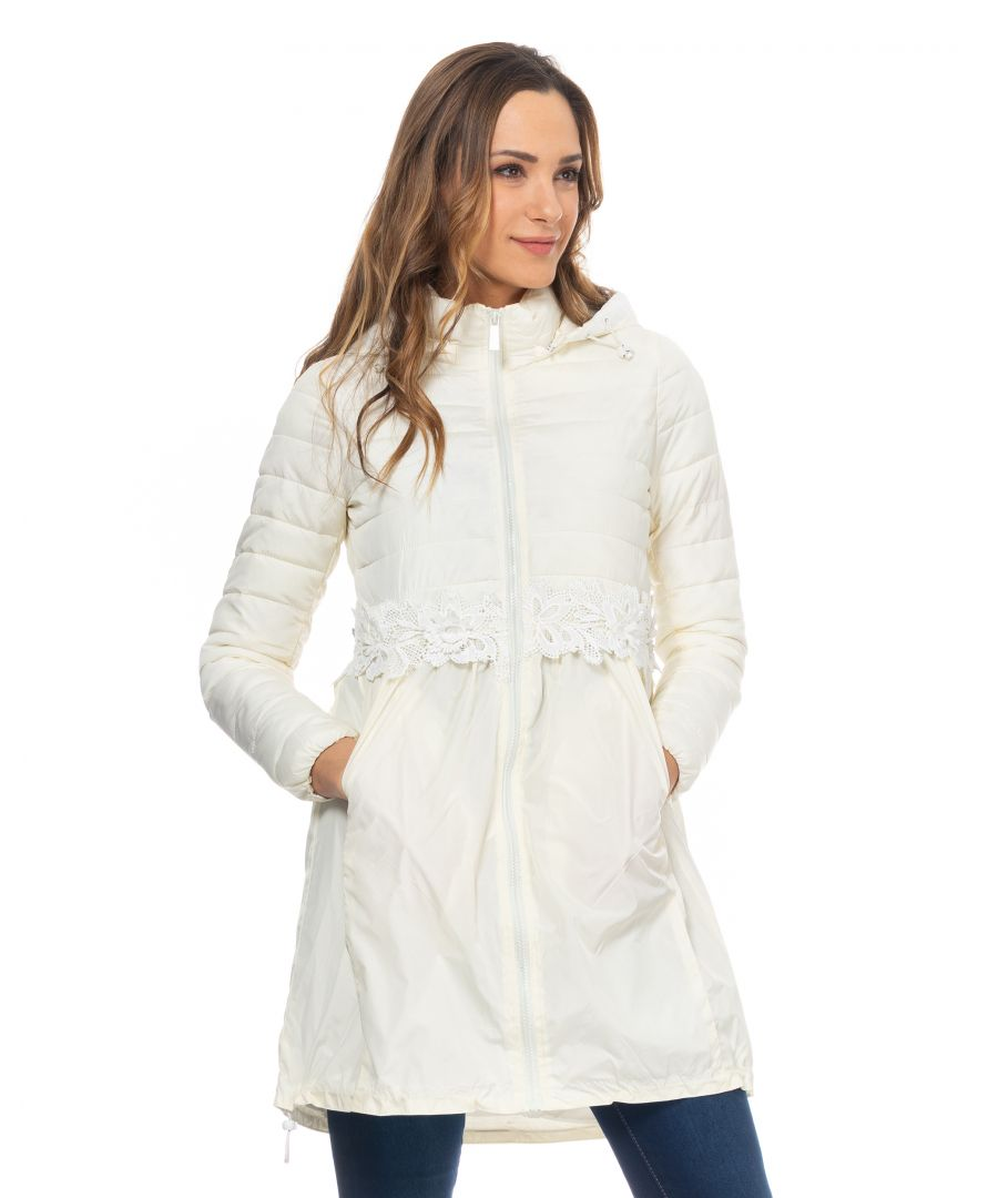 Image for Long down Jacket with lace waist detail and hood