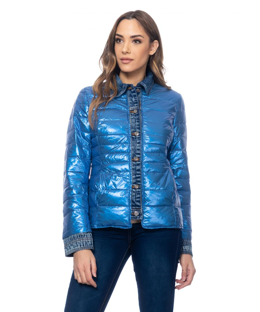 Image for Short metallic anorak with denim neck, cuffs and  finishings