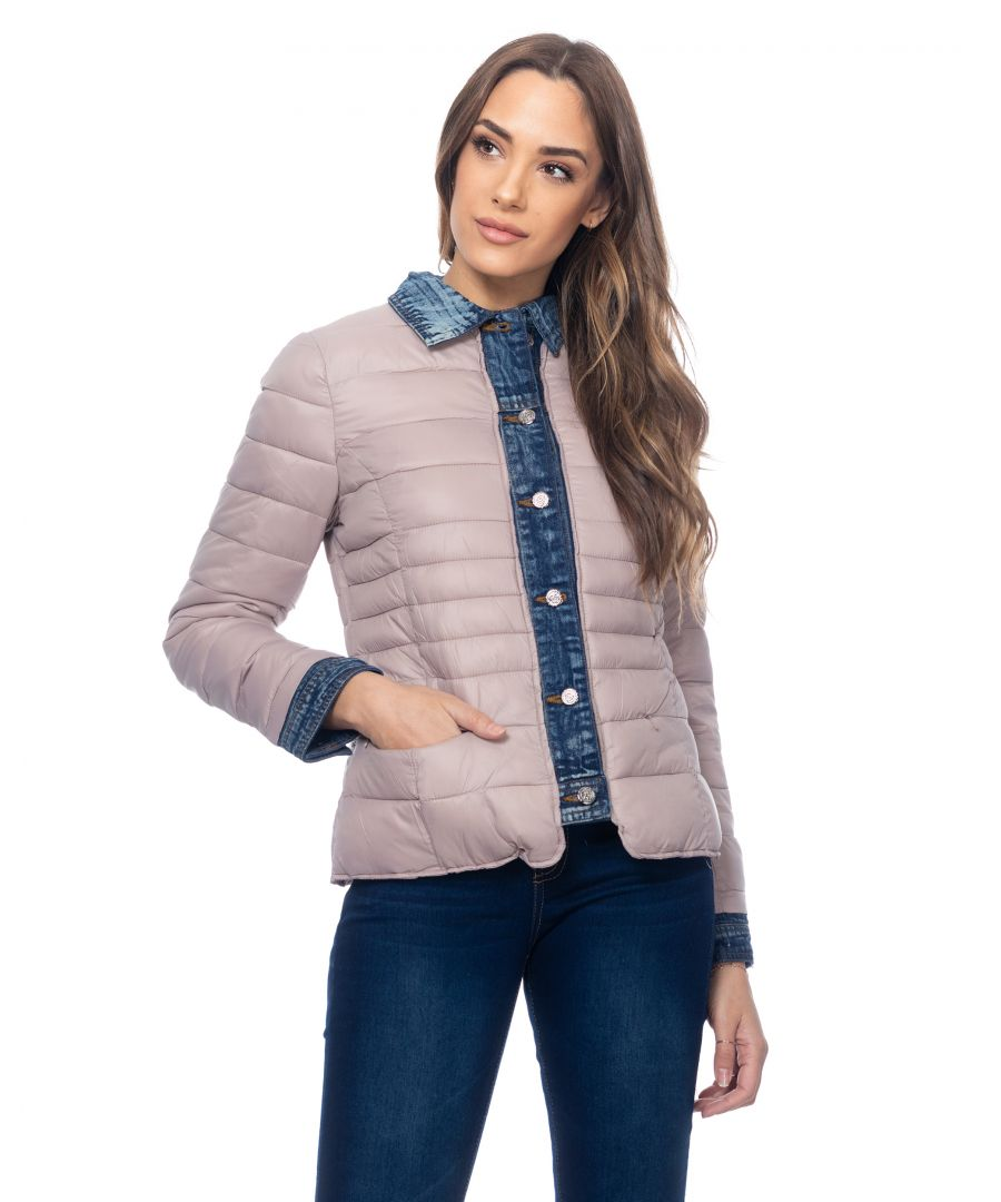 Image for Short Anorak With Denim Neck Cuffs And Finishings