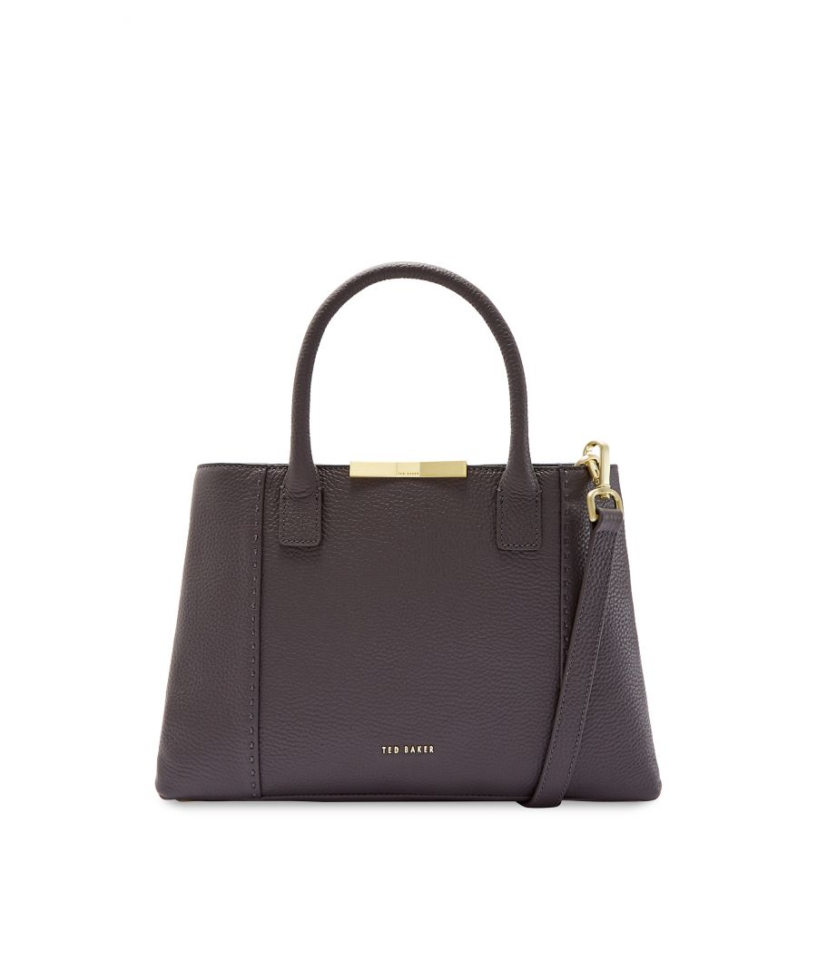 Image for Ted Baker Colesa Soft Grain Faceted Bar Sml Tote, Charcoal