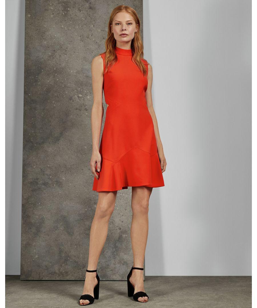 Image for Ted Baker Cormier Cut Out Fluted Shift Dress, Dark Orange