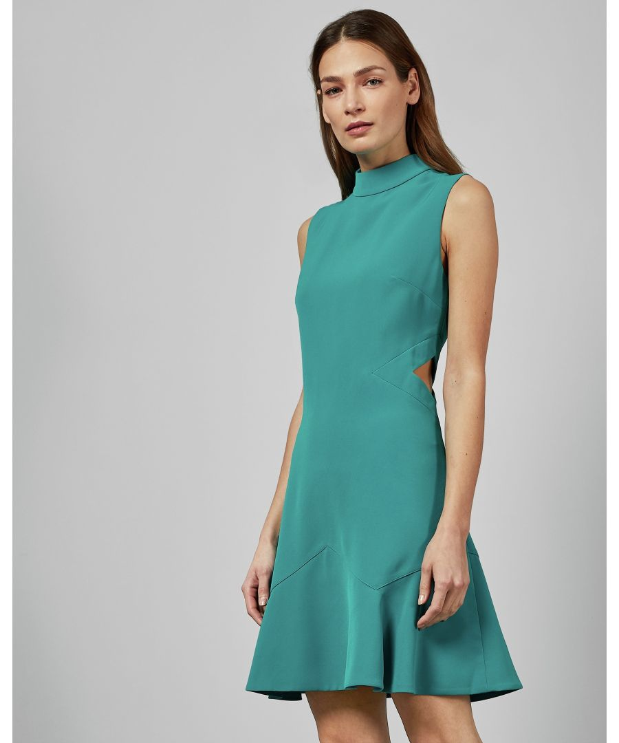 Image for Ted Baker Cormier Cut Out Fluted Shift Dress, Turquoise