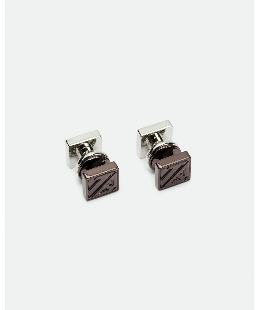 Image for Ted Baker Corner Reversible Silver Cufflinks, Chocolate