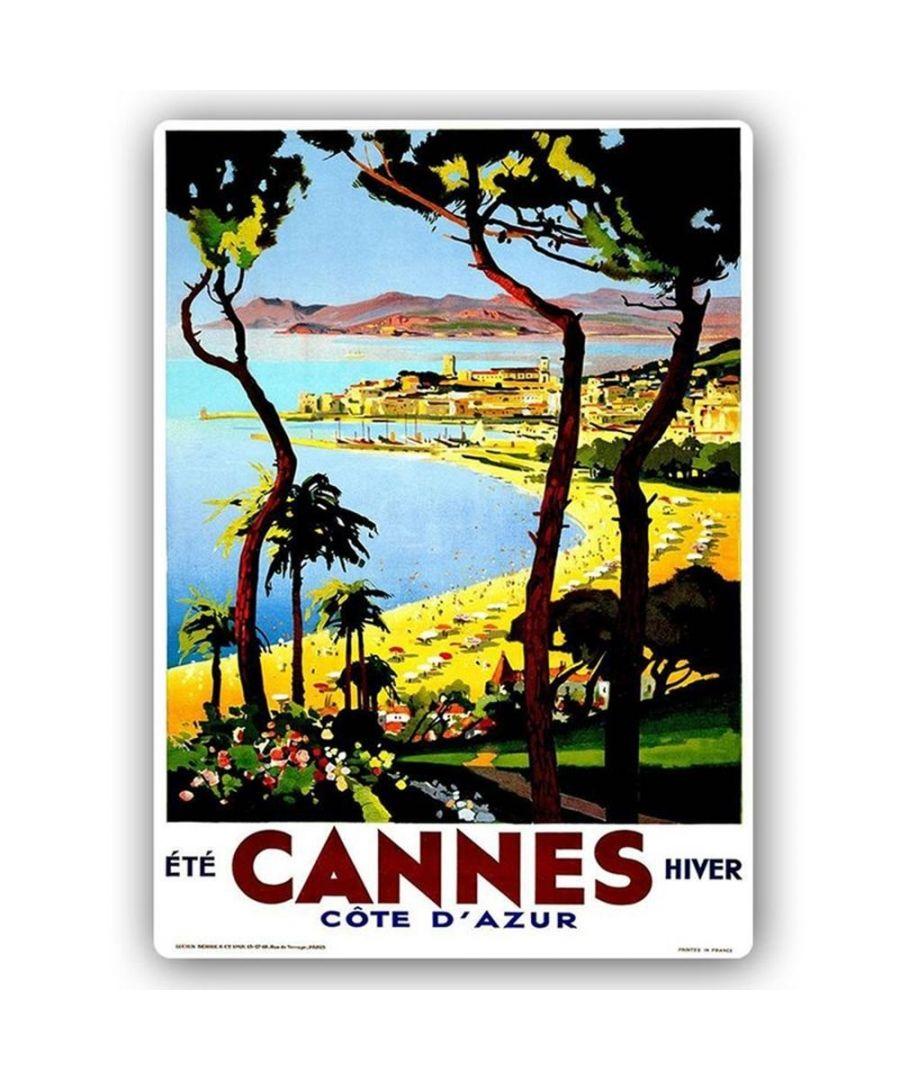 Image for Vintage Tourist Poster - Metal Print  - Cannes - Côte D'Azur