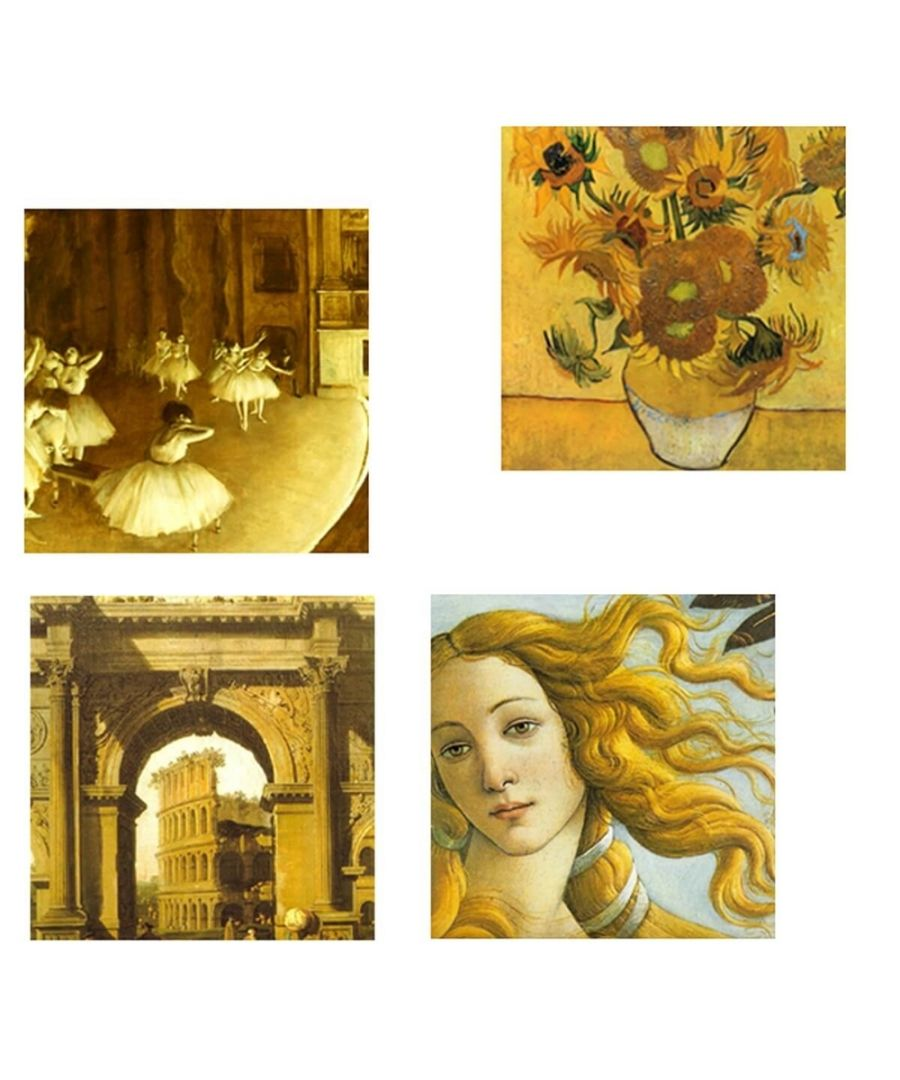 Image for Canvas Print - Yellow Composition Cm. 50x50 (4 Panels)