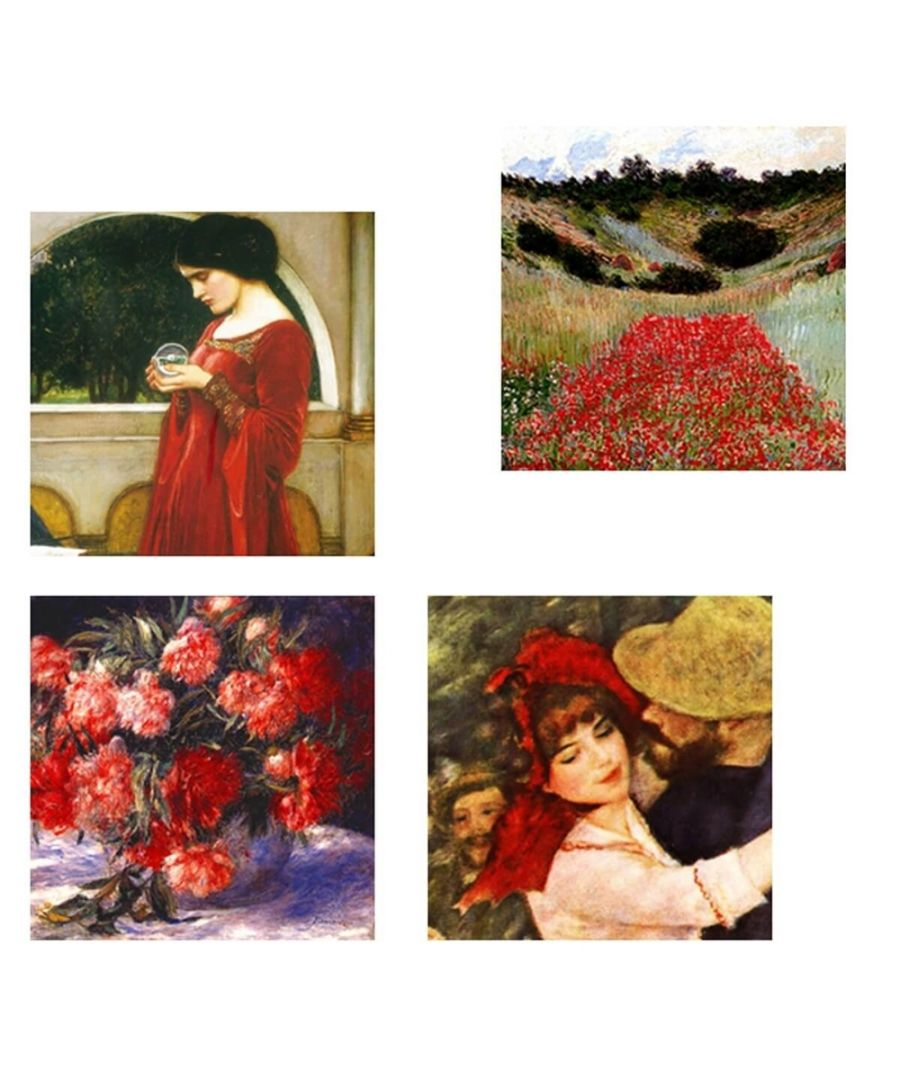 Image for Canvas Print - Red Composition Cm. 50x50 (4 Panels)