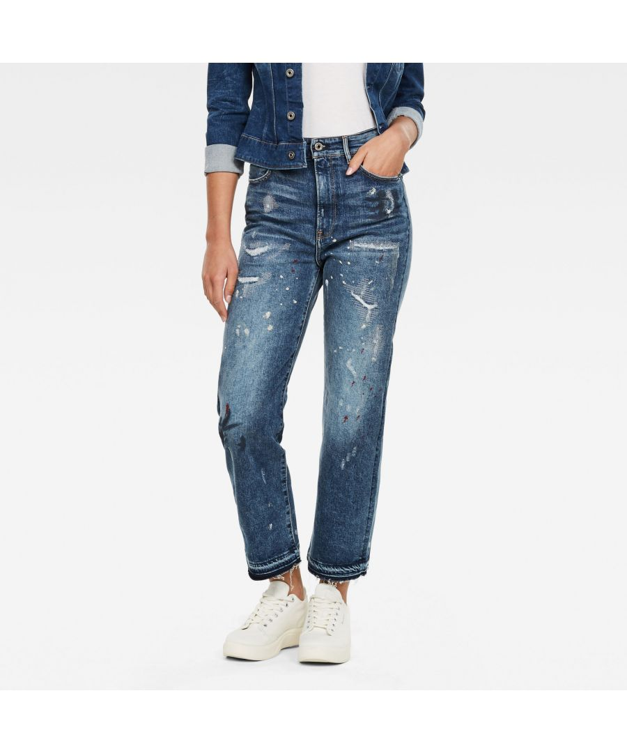 Image for G-Star RAW Tedie Ultra High Straight Ripped Edge Ankle Jeans