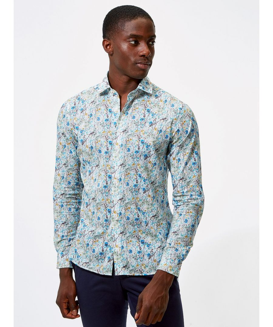 Image for Pastoral Floral Print Shirt Blue