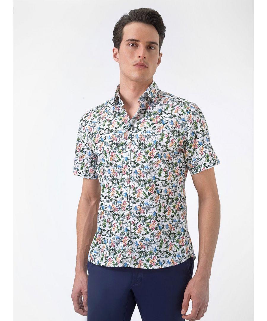 Image for Summer Floral Short Sleeved Print Shirt Pink