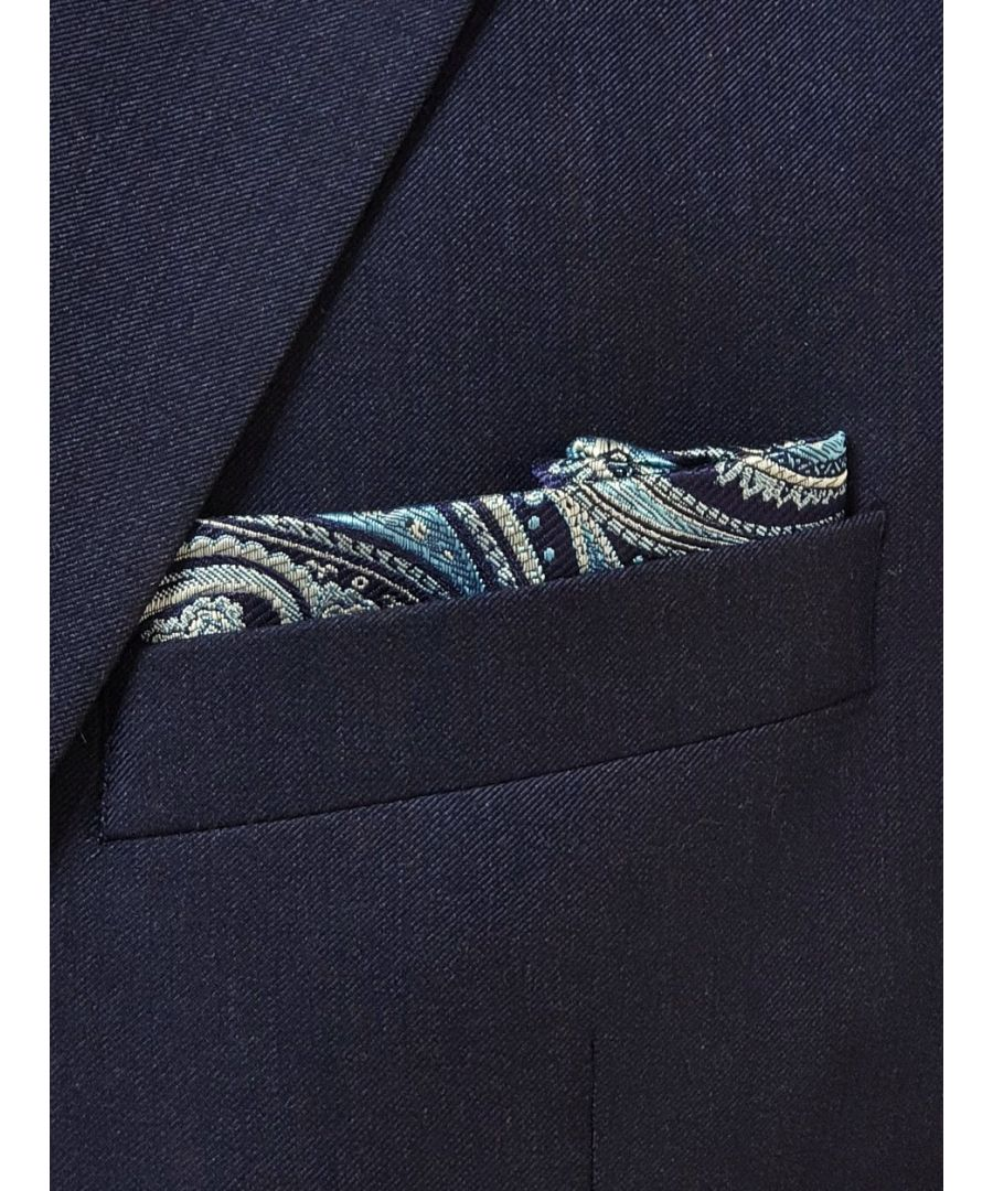 Image for Elegant Paisley Pocket Square Navy