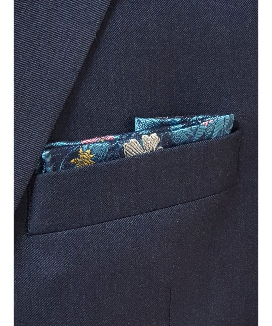 Image for Jungle Flower Pocket Square Blue