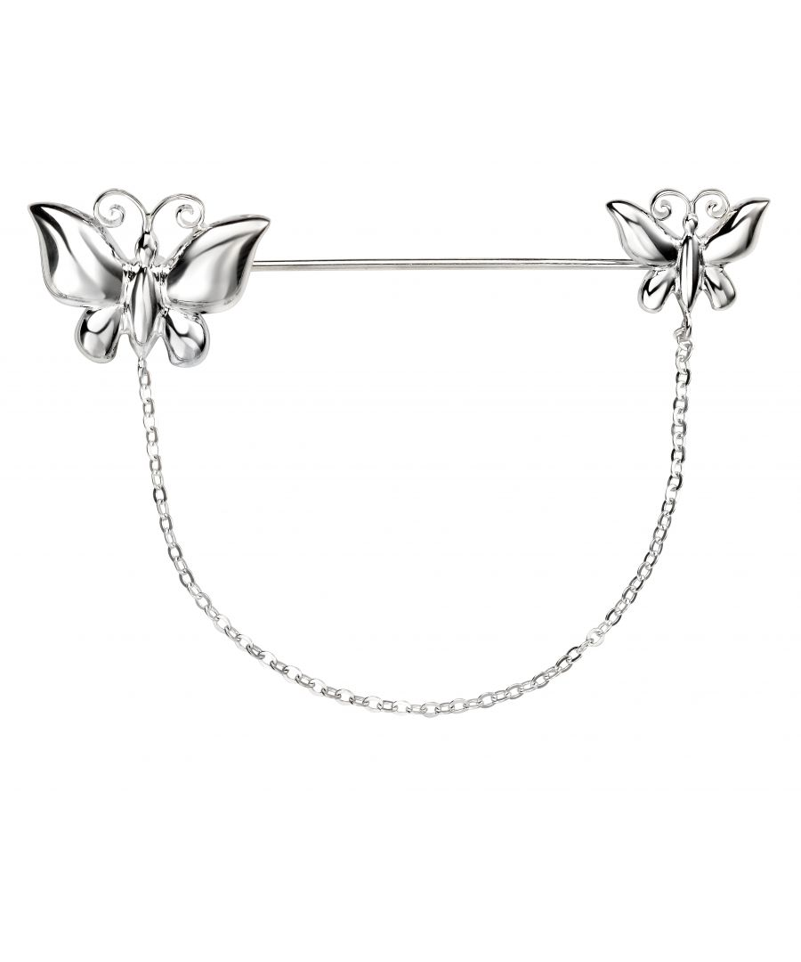 Image for Elements Silver Ladies 925 Sterling Silver Butterfly Pin Brooch with Chain