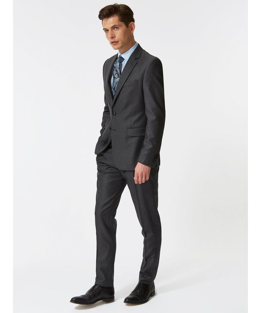 Image for Notch Lapel 120s Twill Suit Grey