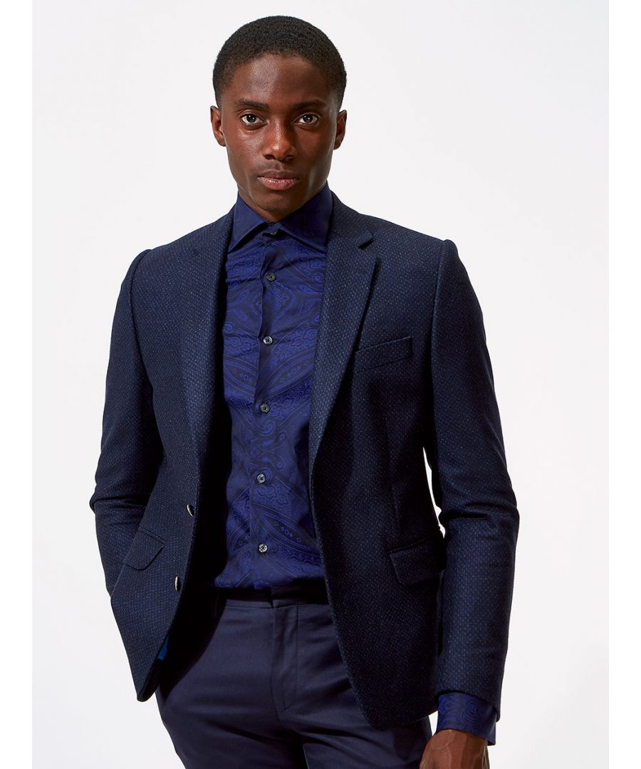 Image for Notch Lapel Dot Flannel Jacket Blue