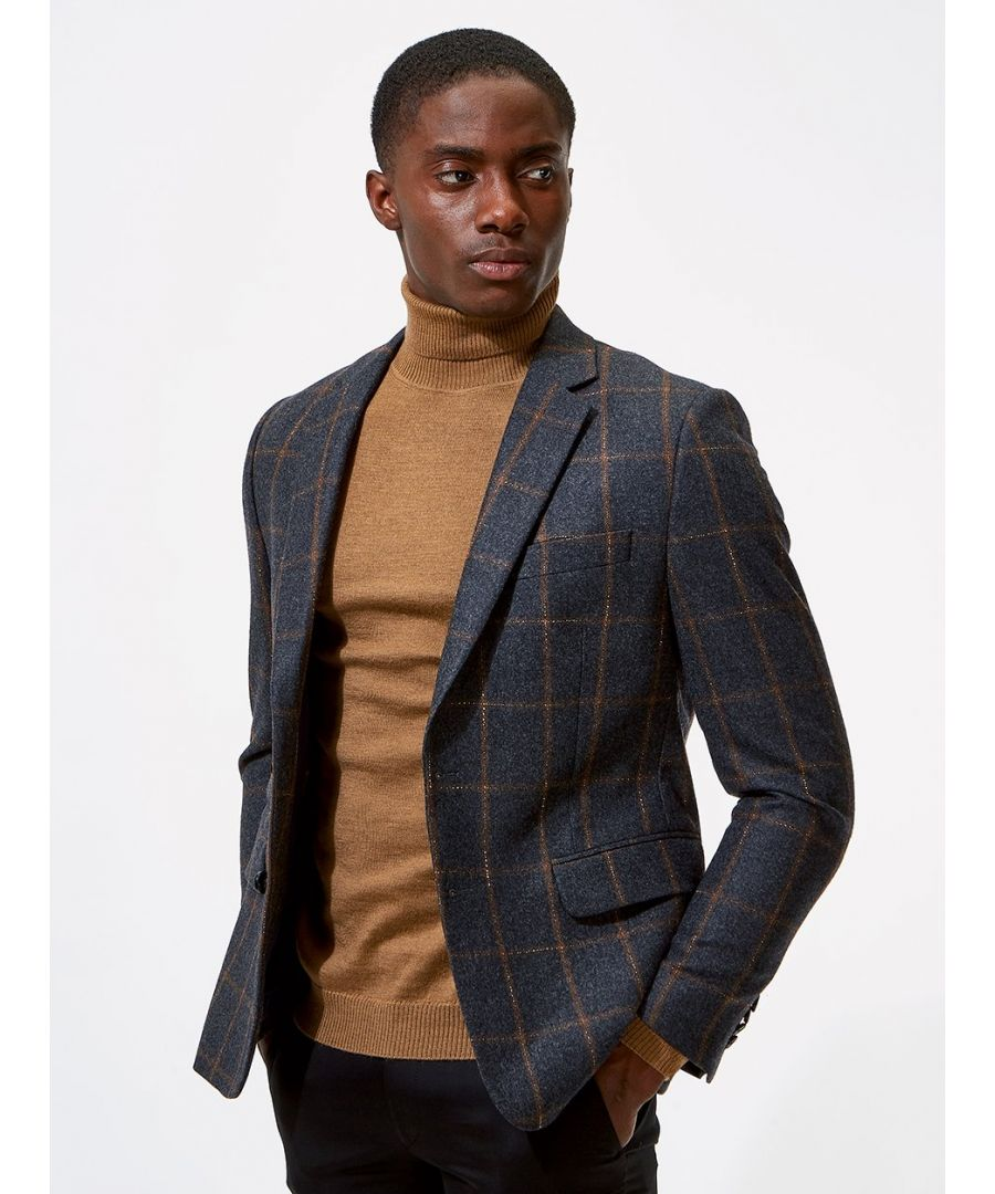 Image for Notch Windowpane Check Jacket Grey
