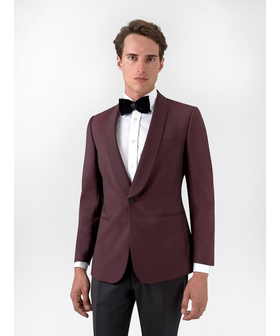Image for Shawl Collar Mohair Tuxedo Jacket Burgundy