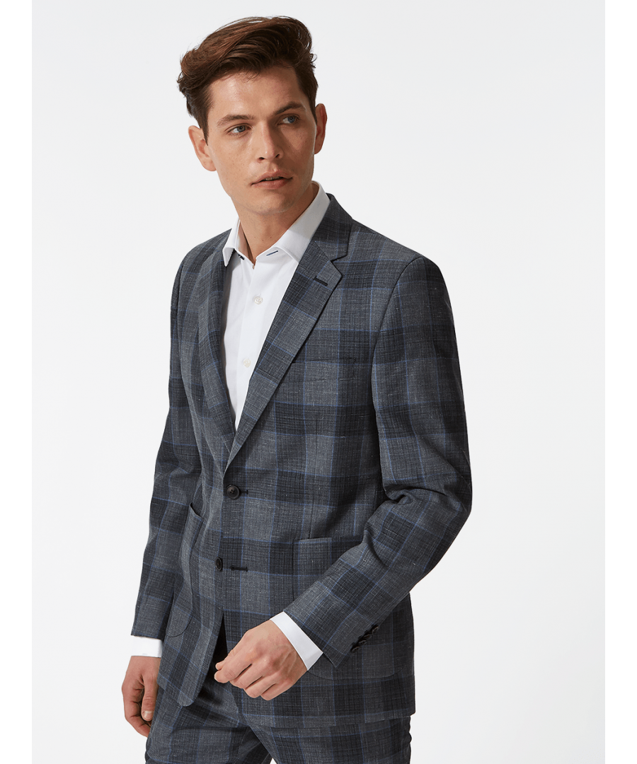 Image for Notch Lapel Overcheck Blazer Grey