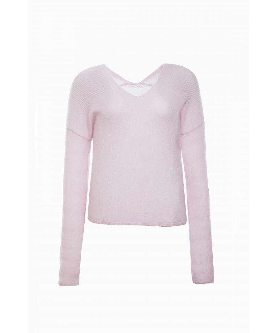 Image for Pink V Neck Cashmere Jumper