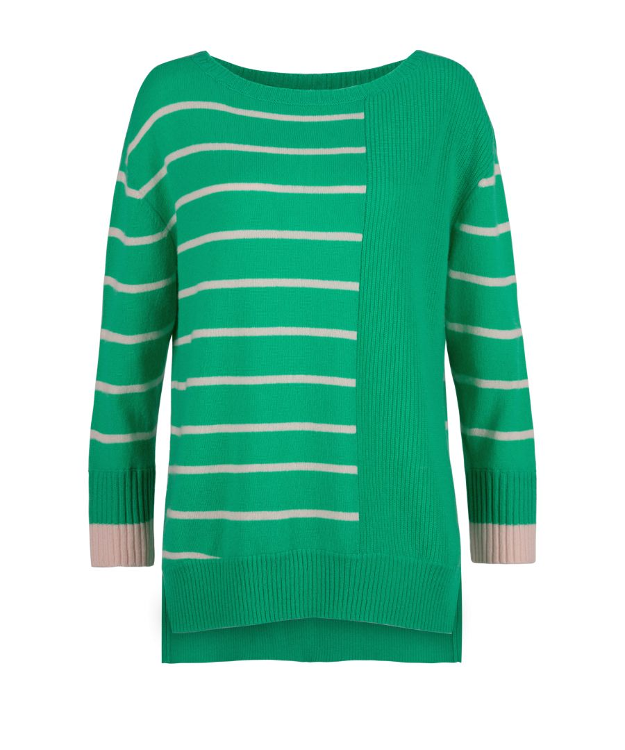 Image for Cashmere Jumper In Green & Petal