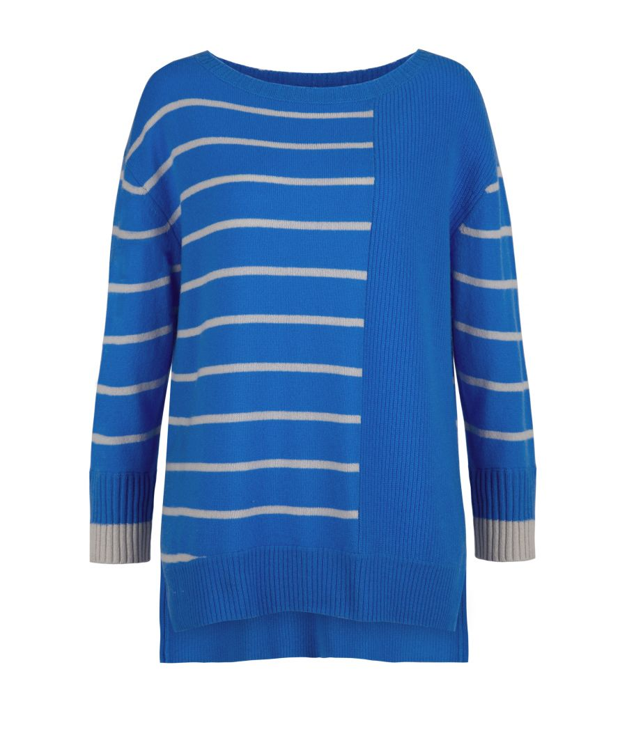 Image for Cashmere Jumper In Blue & Snow
