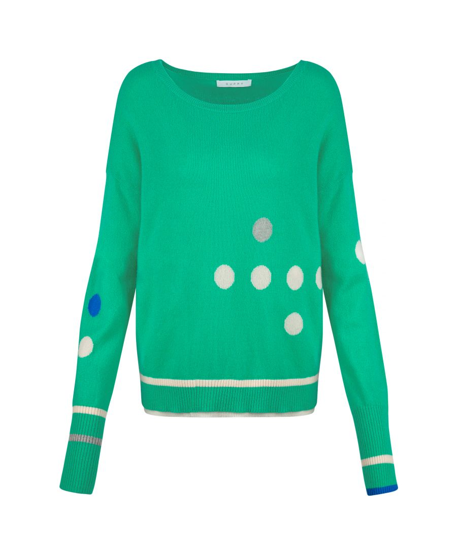 Image for Cashmere Jumper In Green, Blue & Ivory