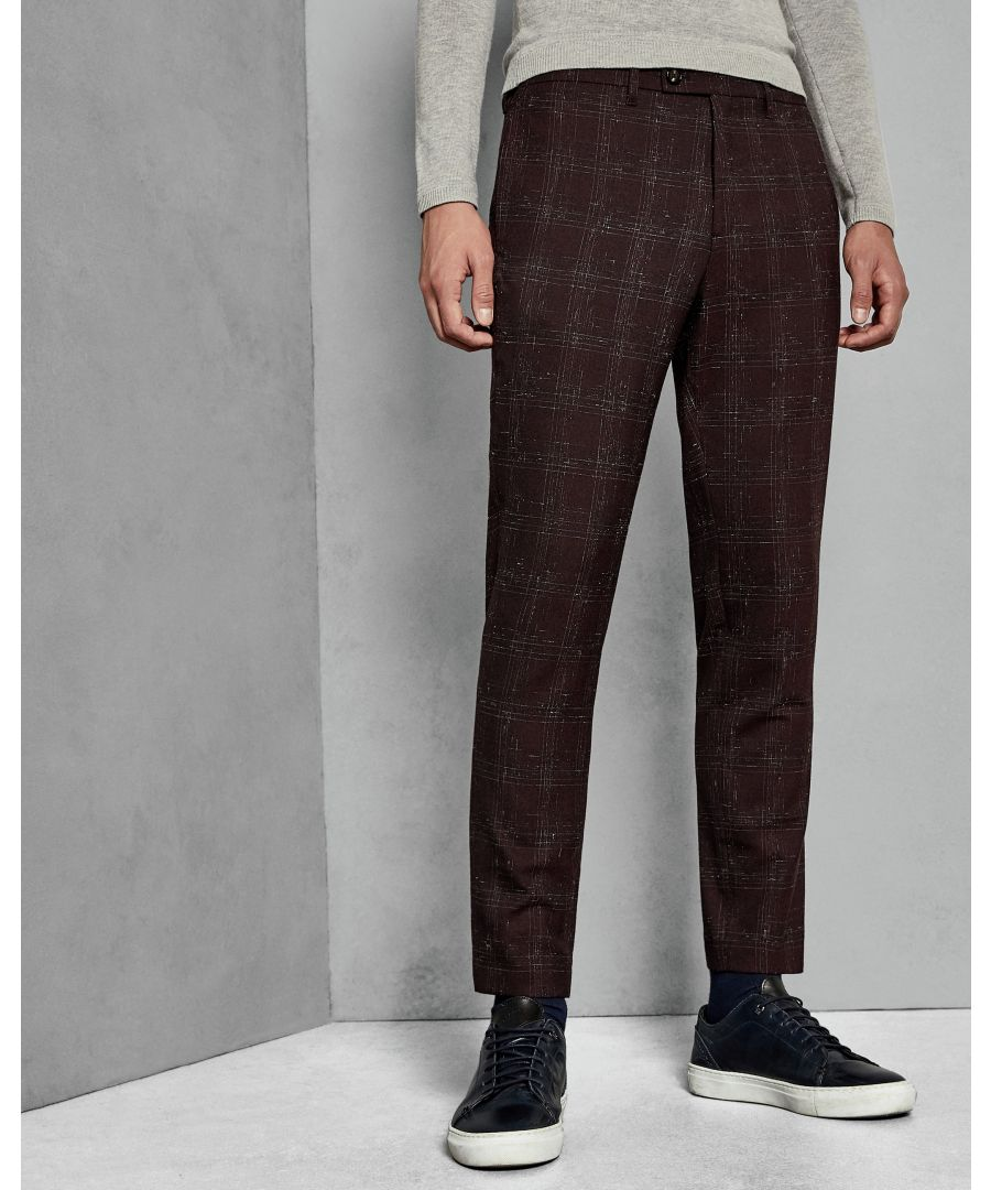 Image for Ted Baker Ddartro Boucle Check Trousers, Dark Red