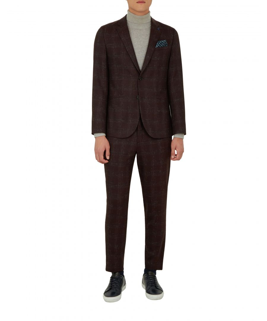 Image for Ted Baker Ddar Checked Boucle Wool Suit Jacket, Dark Red