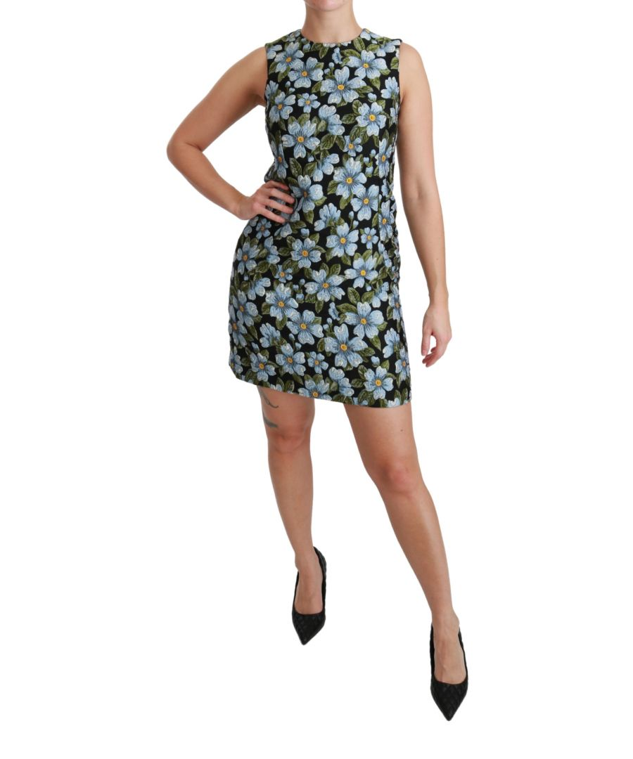 Image for Dolce & Gabbana Blue Floral Brocade Gown Shift Dress