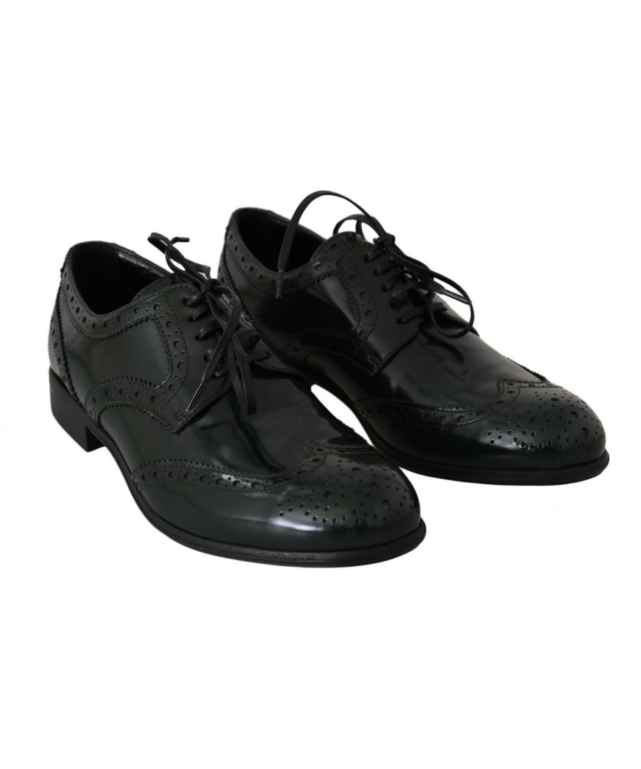 Image for Dolce & Gabbana Green Leather Broque Oxford Wingtip Shoes