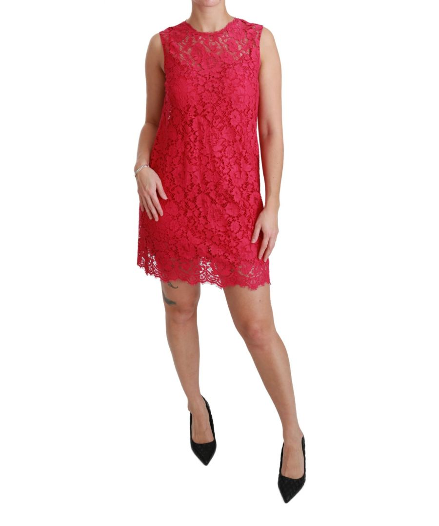 Image for Dolce & Gabbana Pink Floral Lace Shift Gown Mini Dress