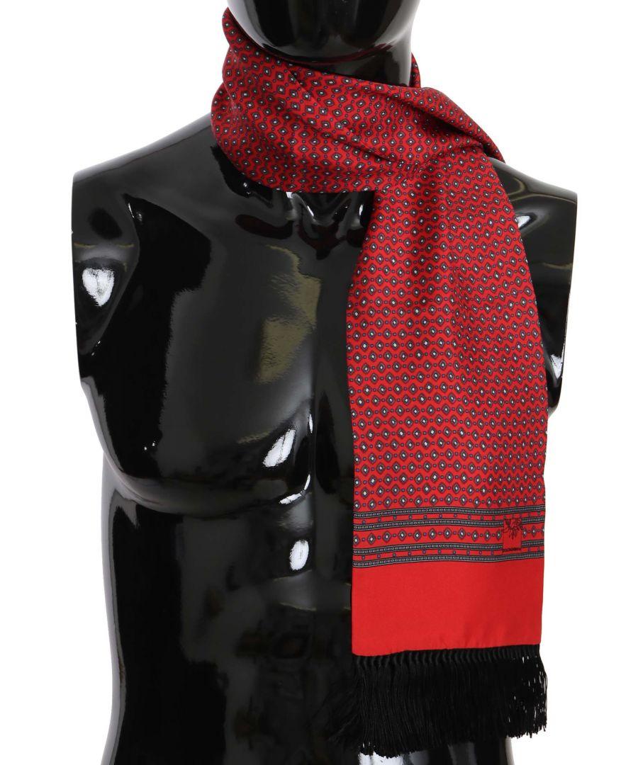 Image for Dolce & Gabbana Red Dot Print Silk Tassel Wrap Shawl Scarf
