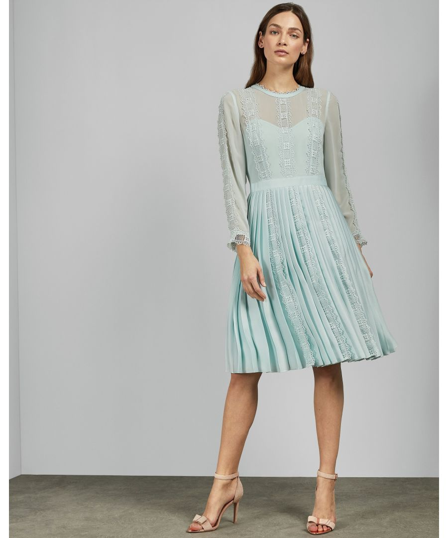 Image for Ted Baker Diannah Lace Trim Pleated Skirt Dress, Pale Blue