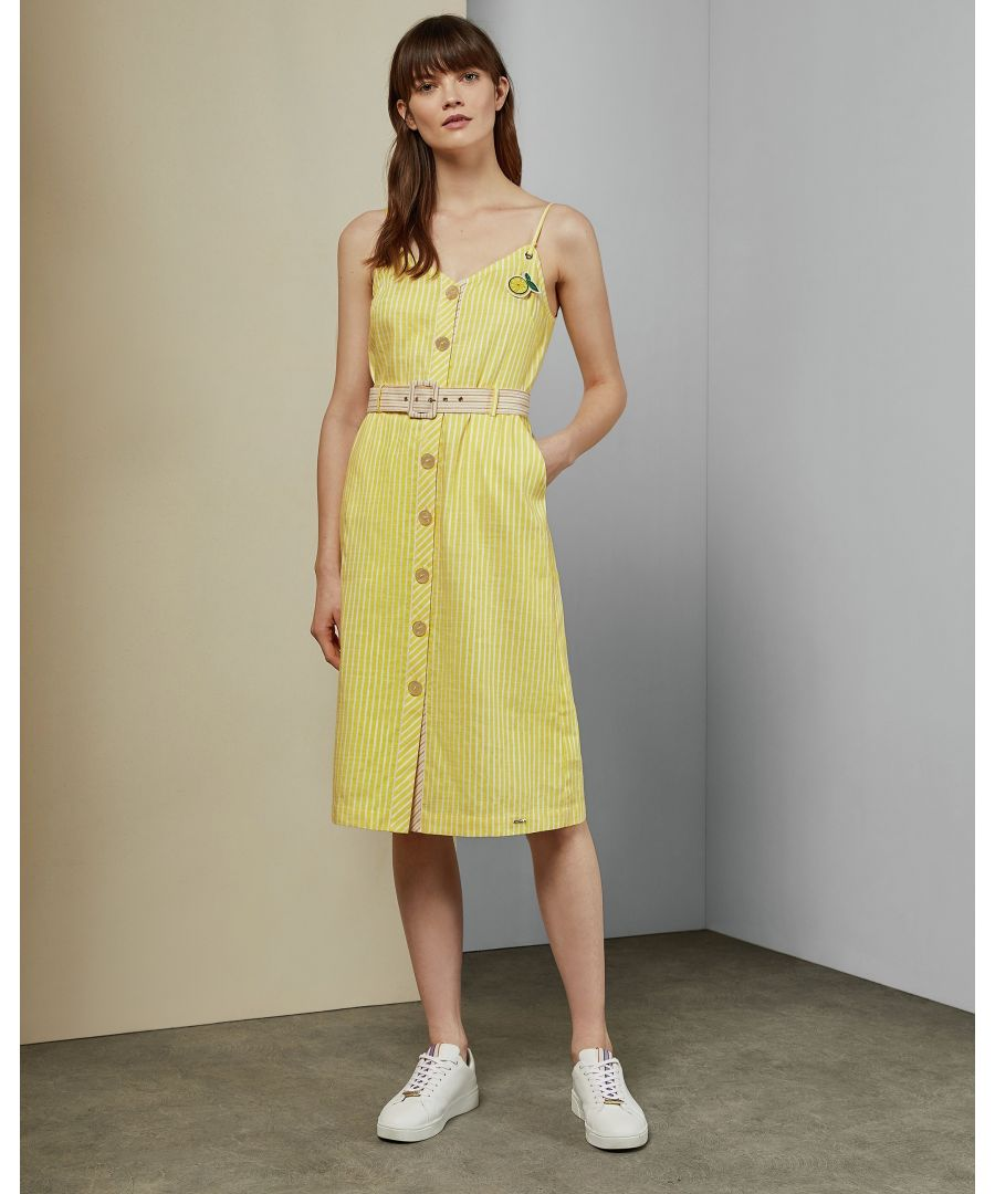 Image for Ted Baker Donana Cbn Linen Stripe Sun Dress, Yellow