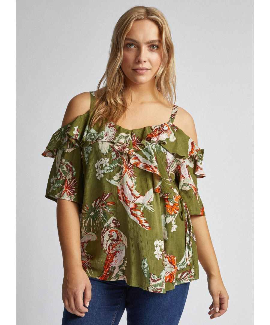 Image for Dorothy Perkins Womens Curve Green Parrot Crinkle Wrap Top Cold Shoulder Blouse