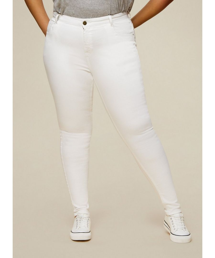 Image for Dorothy Perkins Womens Curve White Shape and Lift Jeans Denim Bottoms Pants