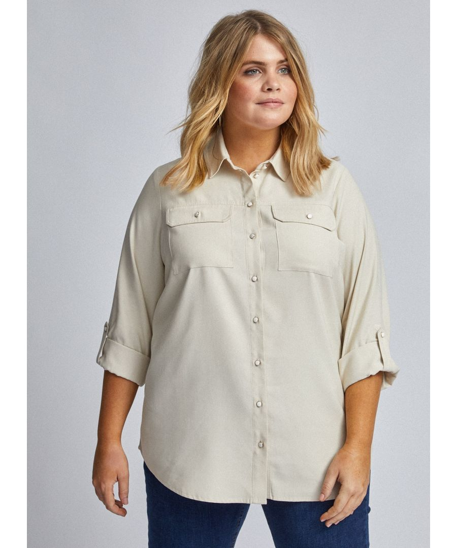 Image for Dorothy Perkins Womens Curve Ivory Utility Shirt 3/4 Sleeve Pockets Blouse Top