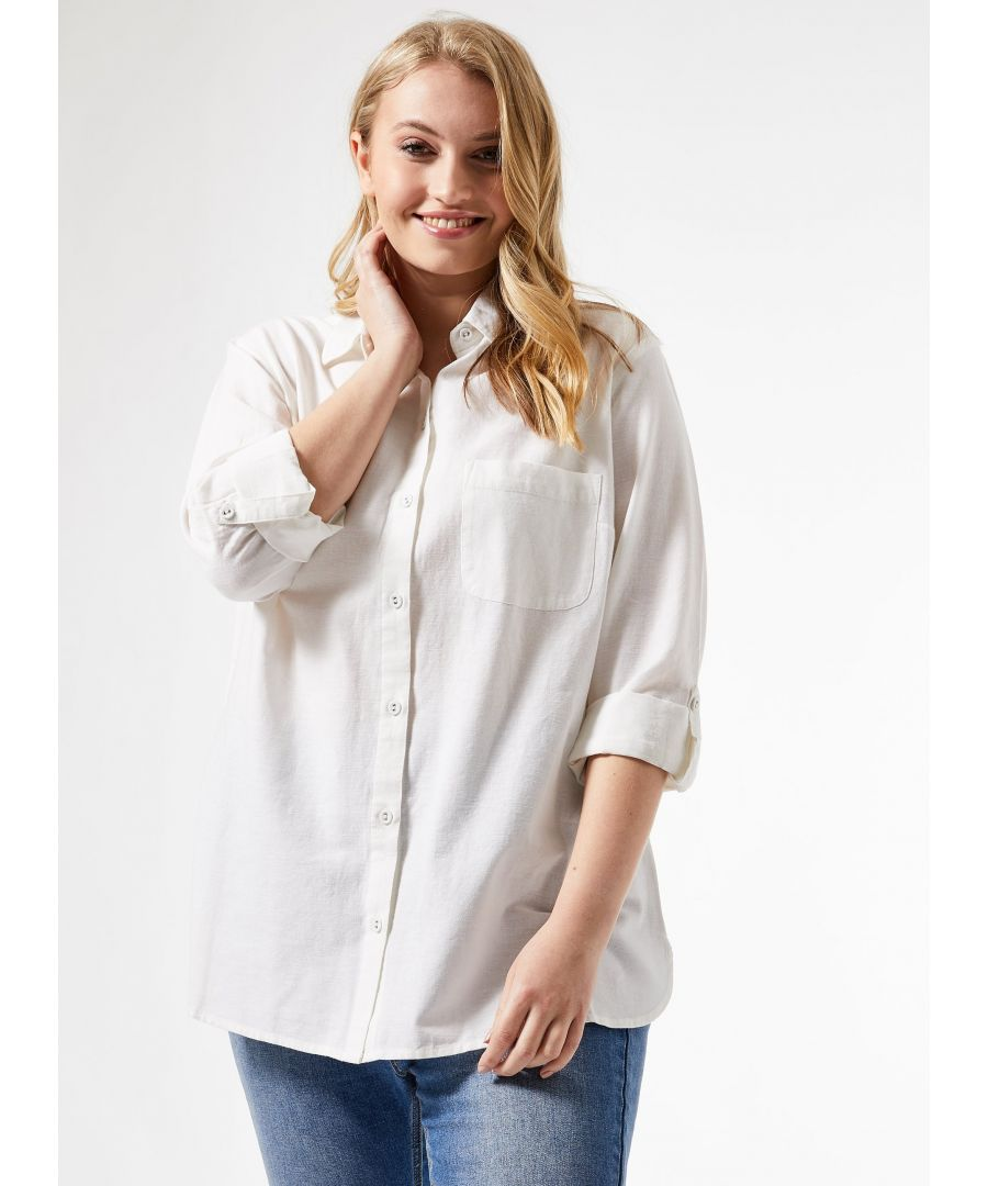 Image for Dorothy Perkins Womens Curve White Shirt Linen 3/4 Sleeve Front Pocket Top