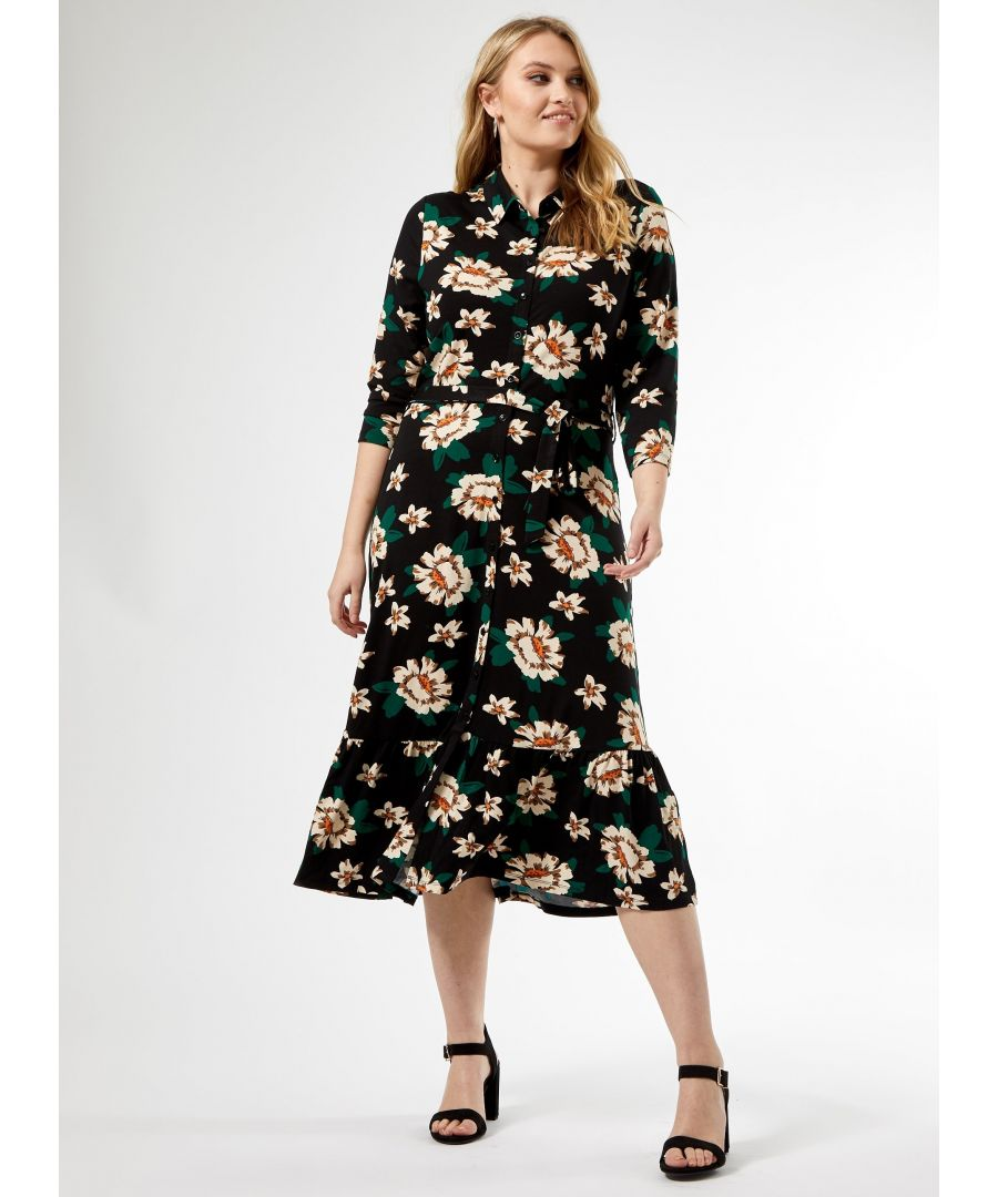 Image for Dorothy Perkins Womens Curve Multi Floral Midi Shirt Dress 3/4 Sleeve Buttons