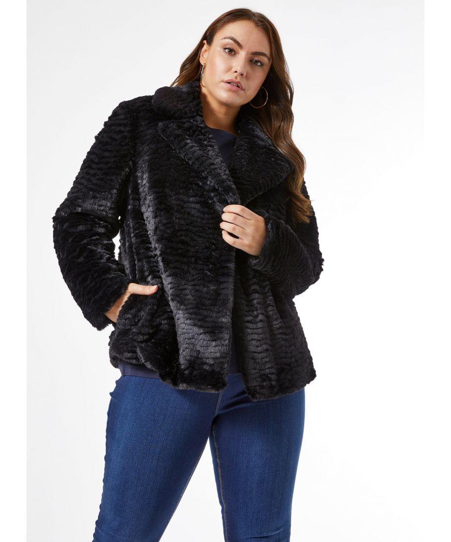 Image for Dorothy Perkins Womens Curve Black Short Faux Fur Coat Jacket Outwear Top