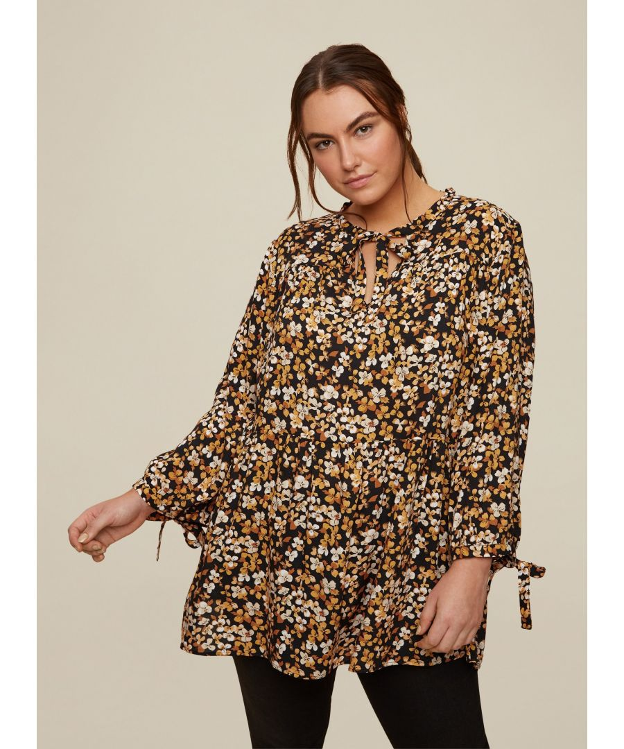 Image for Dorothy Perkins Womens Curve Yellow Floral Top Shirt Blouse Long Sleeve