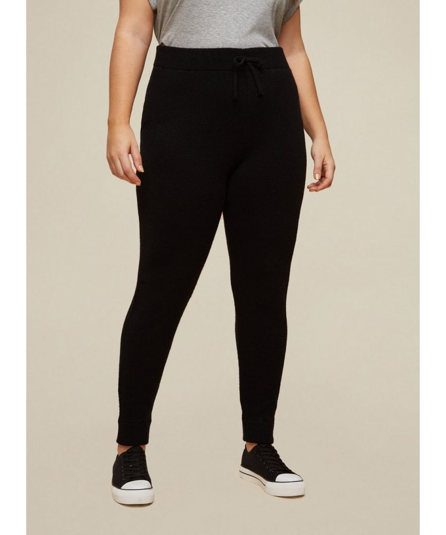 Image for Dorothy Perkins Womens Curve Black Lounge Knitted Joggers Activewear Bottoms