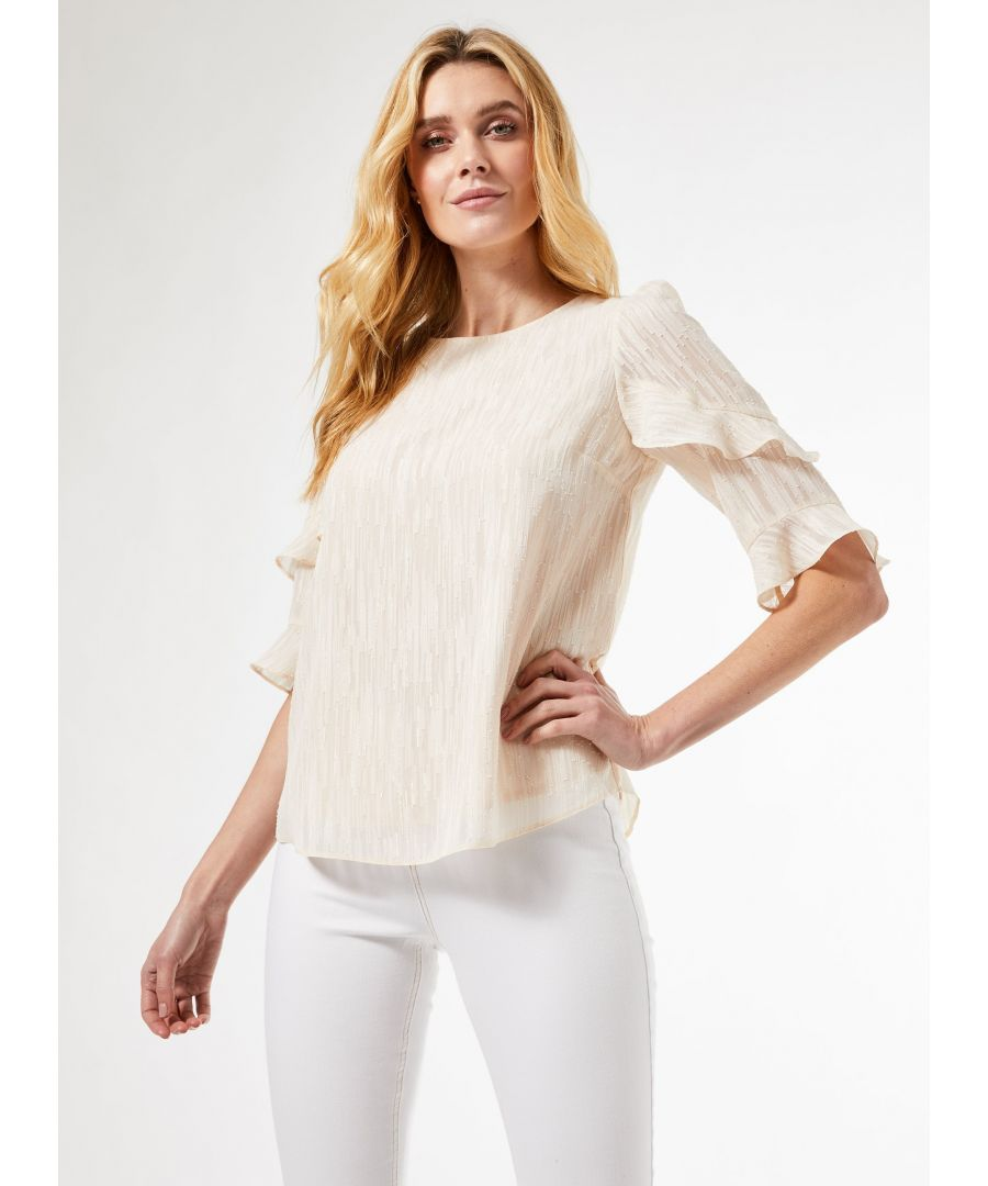 Image for Dorothy Perkins Womens Ivory Ruffle Sleeve Top Round Neck Blouse