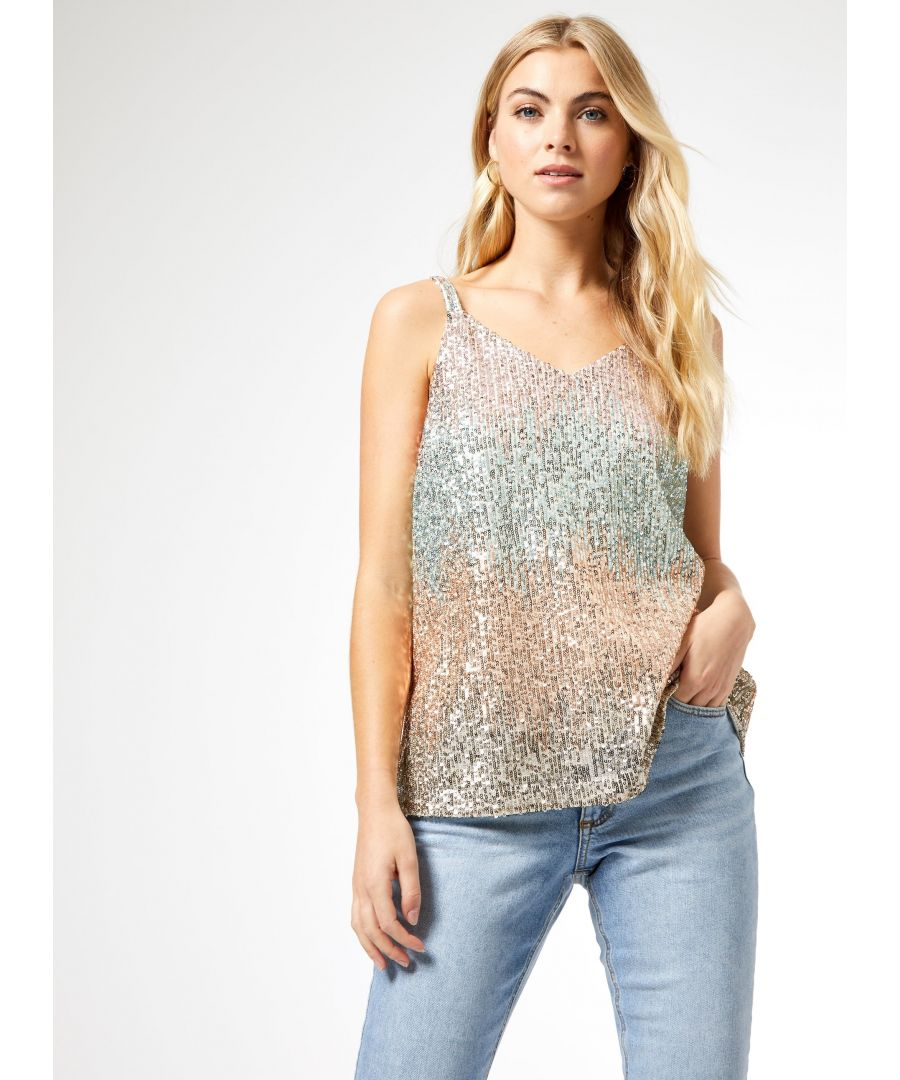 Image for Dorothy Perkins Womens Multi Coloured Sequin Camisole Top V-Neck Sleeveless